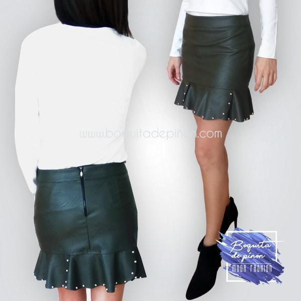 falda polipiel verde o roja