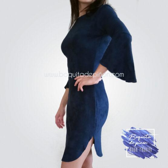 vestido antelina azul marino