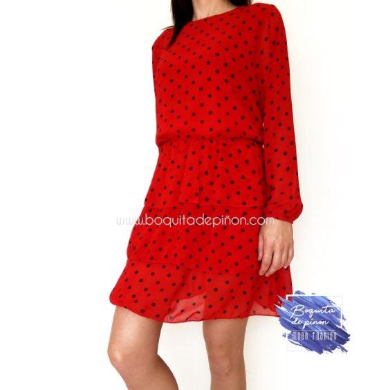 vestido rojo de lunares negros