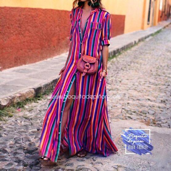 Vestido largo de rayas