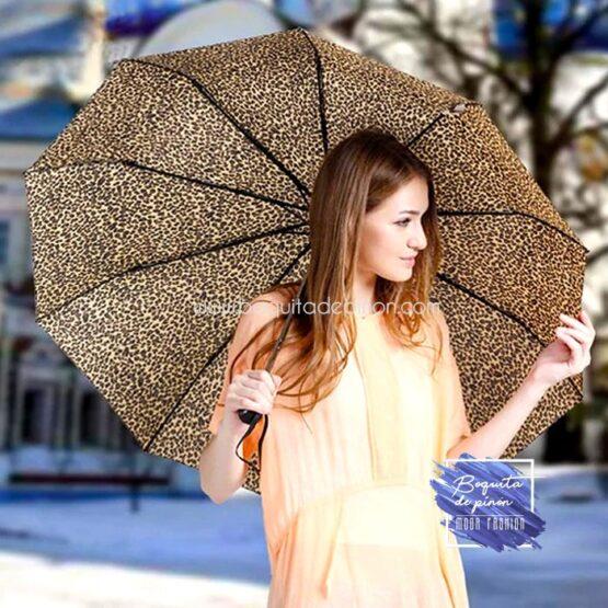 paraguas leopardo mujer