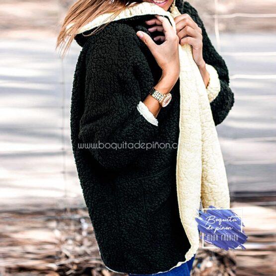 abrigo borreguito reversible negro