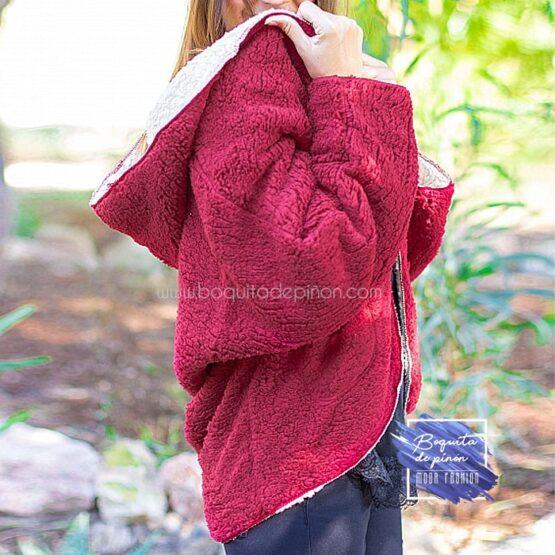 chaqueta borreguito reversible roja