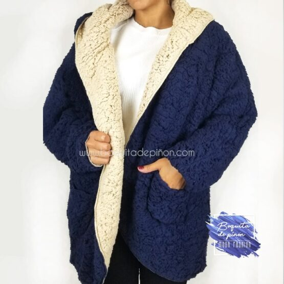 chaqueta borreguito reversible azul borrego