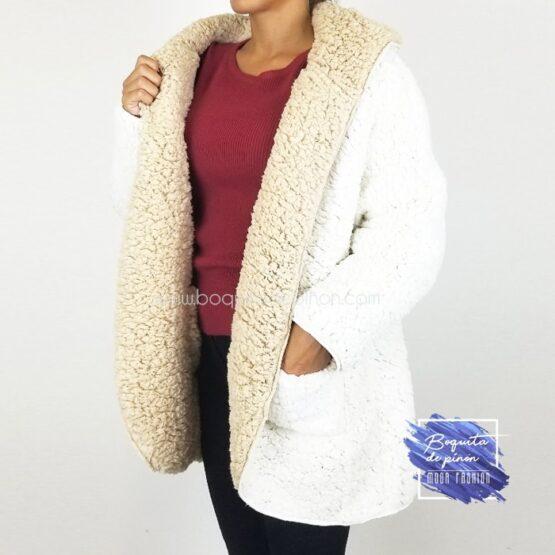chaqueta borreguito reversible blanca borrego