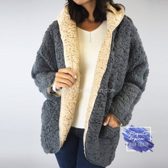 chaqueta borreguito reversible gris oscura borrego