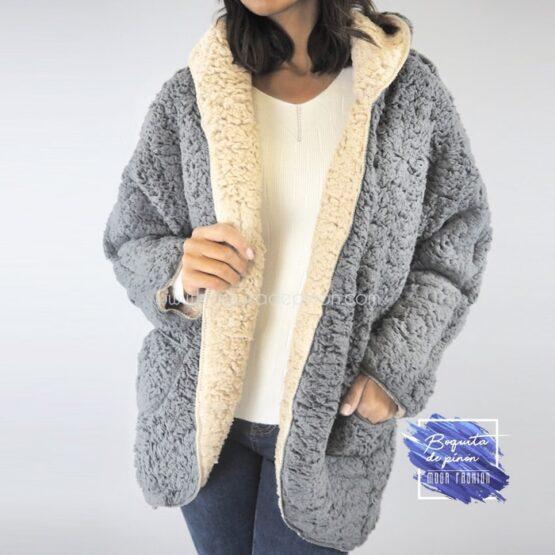 chaqueta borreguito reversible gris clarita borrego