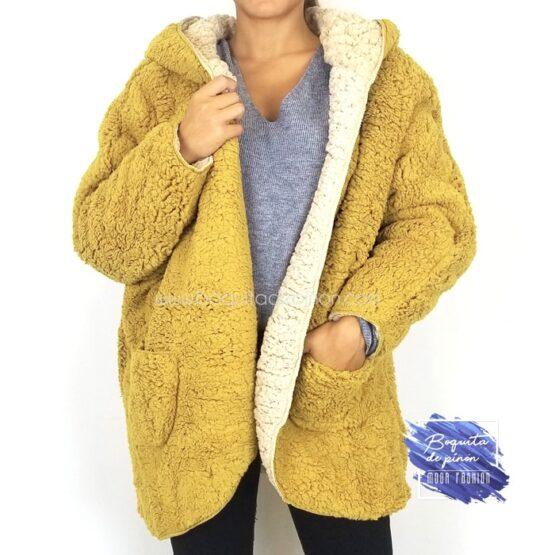 chaqueta borreguito reversible mostaza borrego