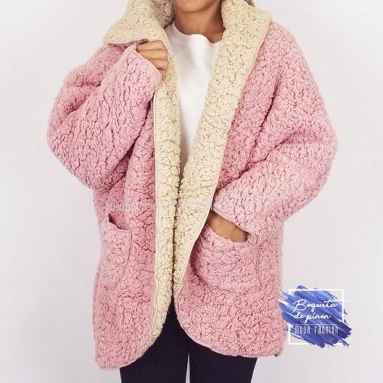 chaqueta borreguito reversible rosa borrego