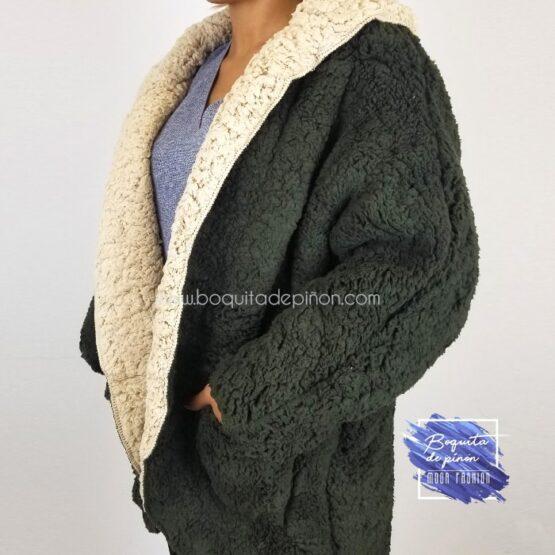 chaqueta borreguito reversible verde borrego