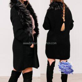 chaqueta larga con pelo sintetico negro