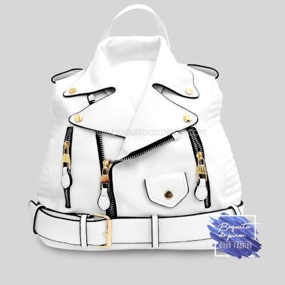bolso mochila chaqueta blanco