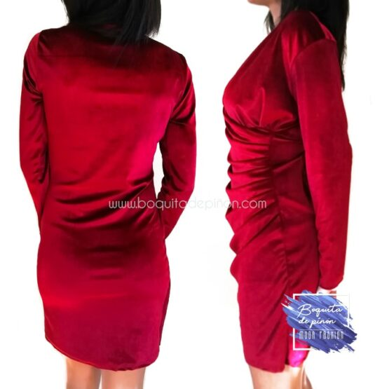 vestido terciopelo manga larga granate
