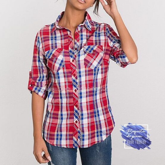 camisa cuadros rojos y azules mujer