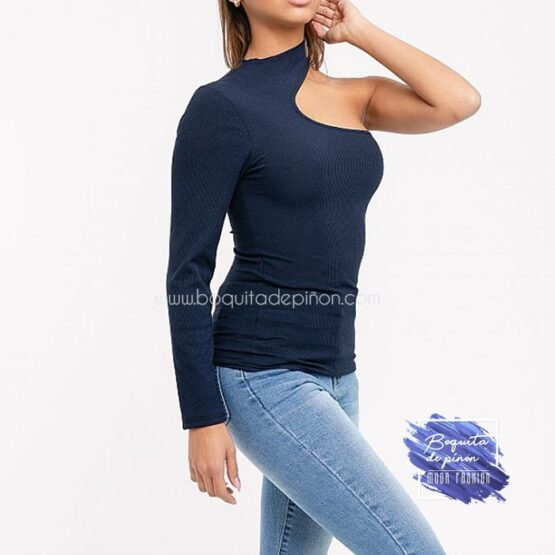 camiseta de fiesta con un solo hombro azul