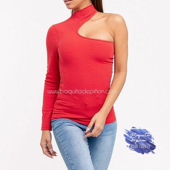 camiseta de fiesta con un solo hombro roja