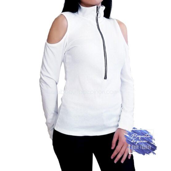 camiseta manga larga hombros descubiertos blanca