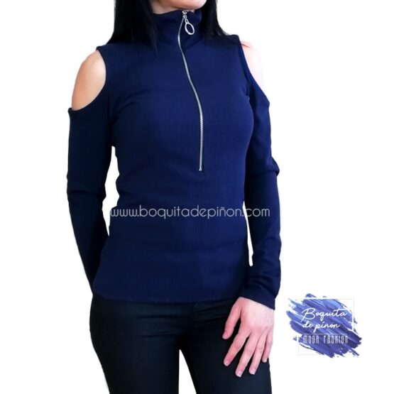 camiseta manga larga hombros descubiertos azul marina