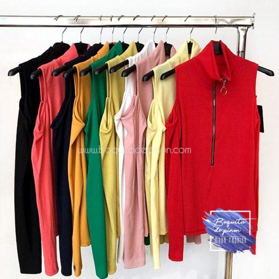 camiseta manga larga hombros descubiertos roja