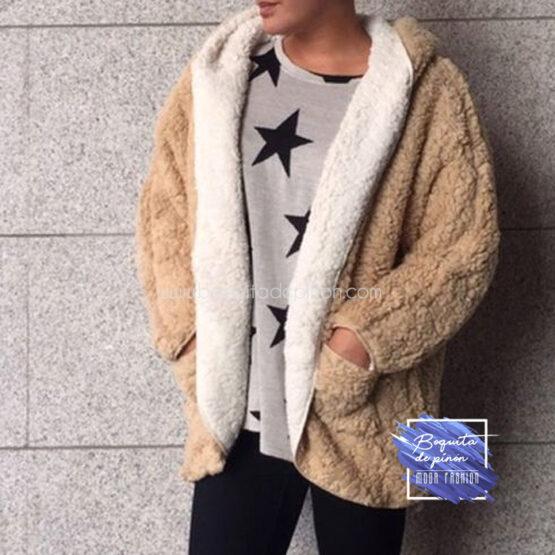 chaqueta borreguito reversible marron clarito