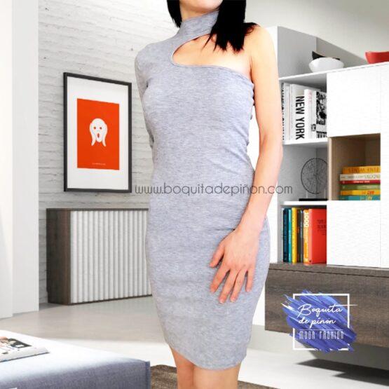vestido de fiesta corto con un solo hombro gris
