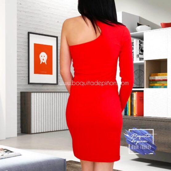 vestido de fiesta corto con un solo hombro rojo