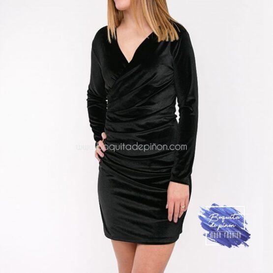 vestido manga larga terciopelo negro