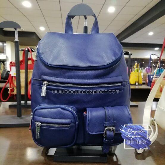 bolso mochila con bolsillos azul marino