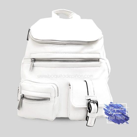 bolso mochila con bolsillos blanco