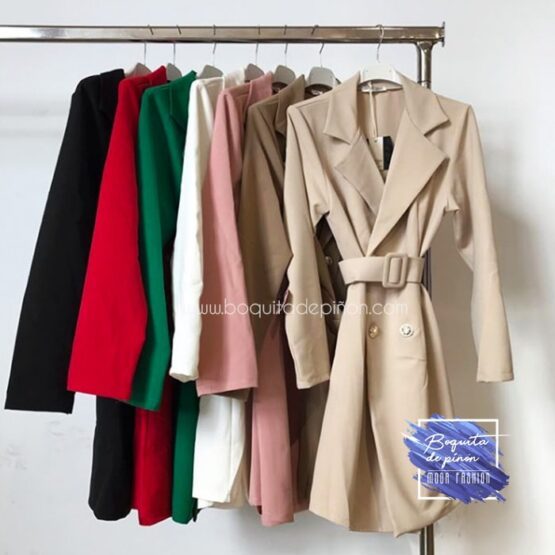 vestido blazer americana cruzada marron