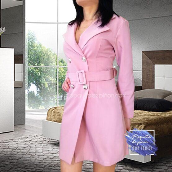 vestido blazer americana cruzada rosa clarito nude
