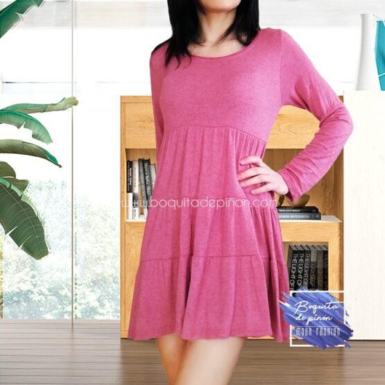 vestido casual manga larga rosa fresa