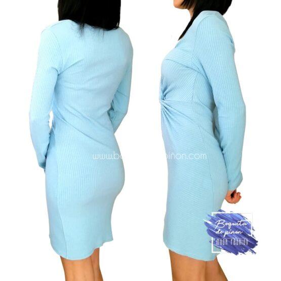 vestido corto con nudo delantero azul celeste