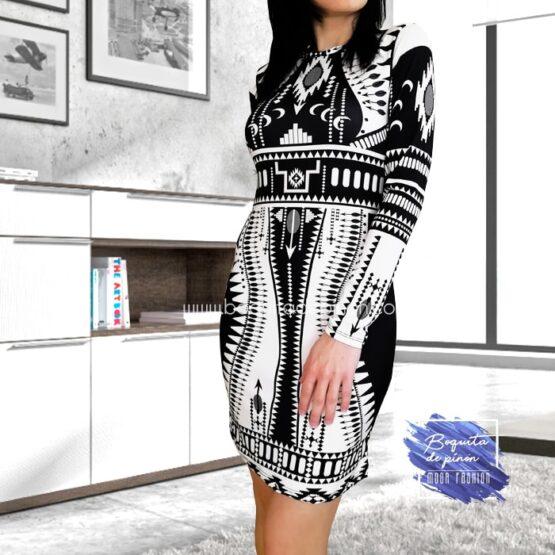 vestido estampado geometrico blanco y negro