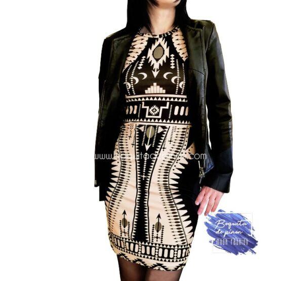 vestido estampado geometrico negro y marron