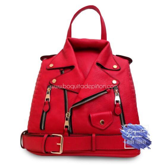 bolso mochila chaqueta rojo