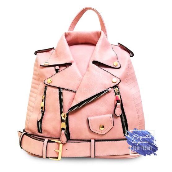 bolso mochila chaqueta rosa clarito