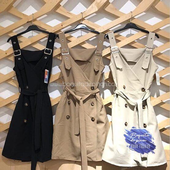 vestido estilo safari marron