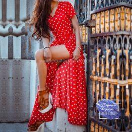Vestido largo con lunares rojo