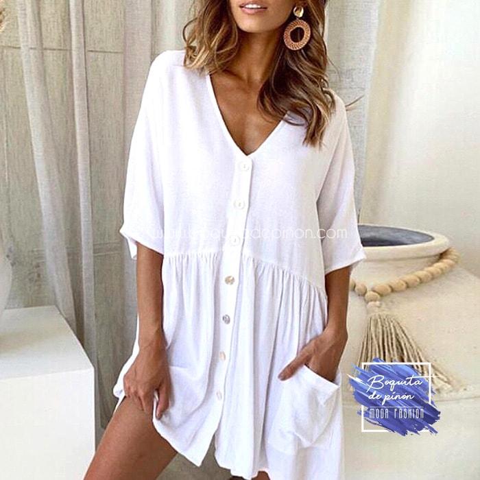 vestido oversize con botones blanco