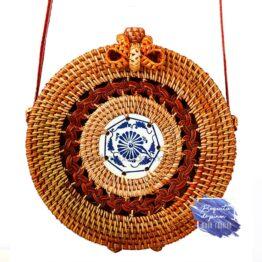 bolso redondo mimbre con decoracion