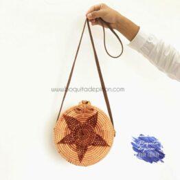 bolso redondo mimbre con estrella