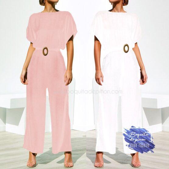 mono largo con cinturon blanco rosa
