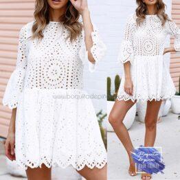 vestido blusa con encaje blanco