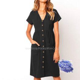 vestido corto con botones negro