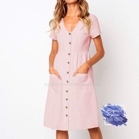 vestido corto con botones rosa clarito