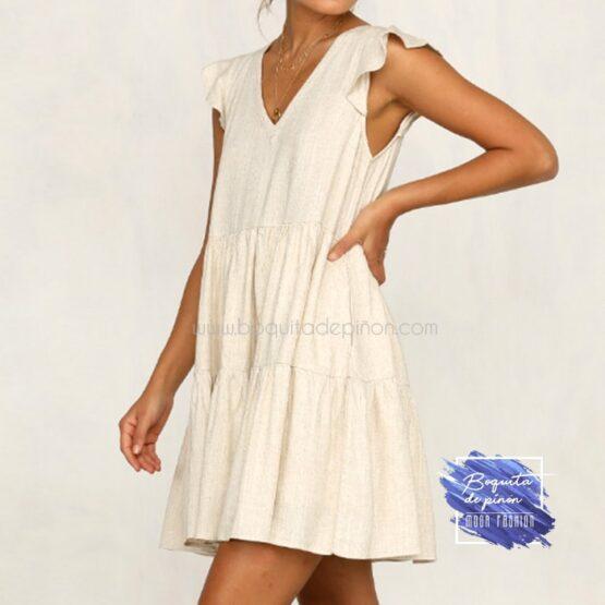 vestido corto oversize beige