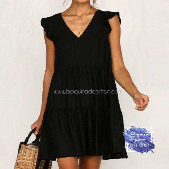 vestido corto oversize negro