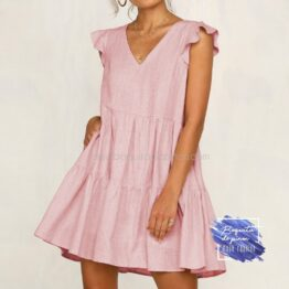 vestido corto oversize rosa