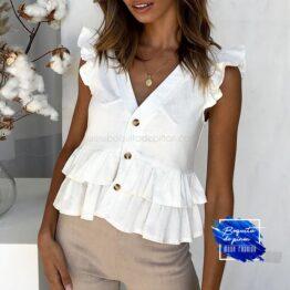blusa manga corta con volantes